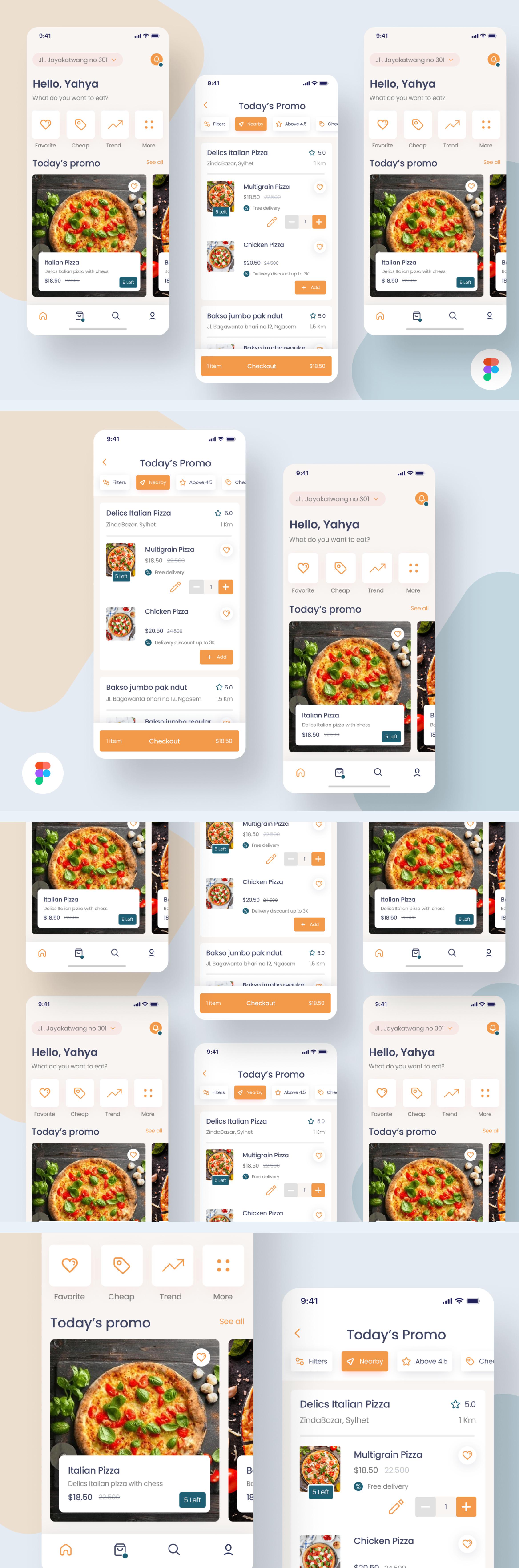 Online Pizza Delivery App UI Design